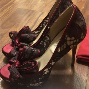 Valentino red lace  heels